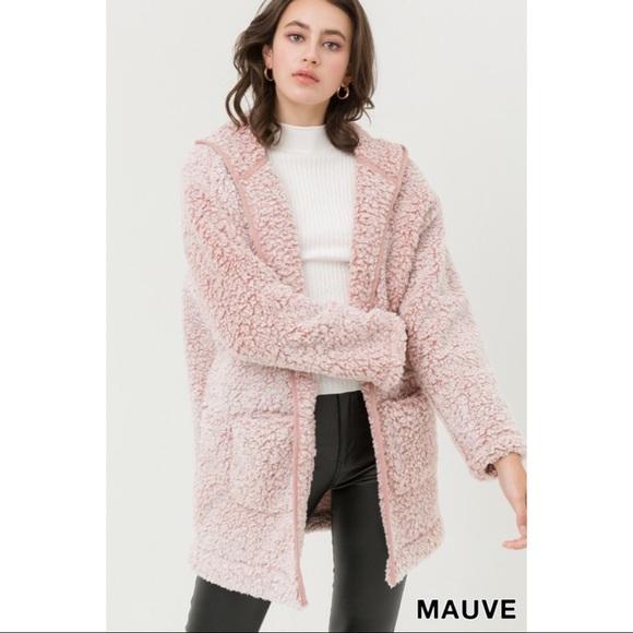 Hannah Beury Jackets & Blazers - Hooded Oversized Sherpa Fleece Teddy Jacket